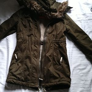 Superdry Army Green Parka Insulated Faux Fur